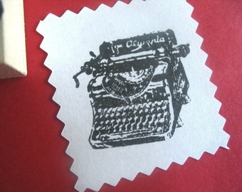Antique Typewriter Rubber Stamp - Handmade by Blossom Stamps