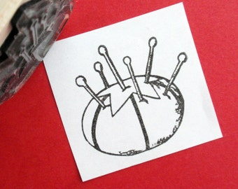 Tomato Pin Cushion Sewing Rubber Stamp  - Handmade by Blossom Stamps
