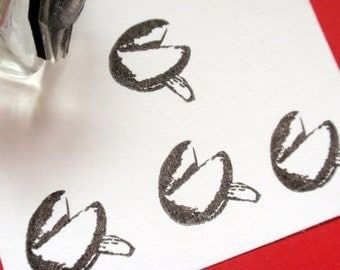 Tiny Fortune Cookie Rubber Stamp by BlossomStamps