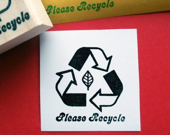 Please Recycle 3 R's Rubber Stamp // Eco Friendly Stamp- handmade by BlossomStamps