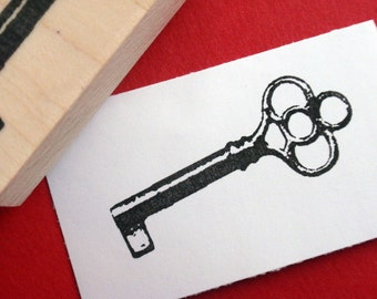 Antique Key Rubber Stamp  - Handmade by BlossomStamps