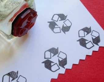 Please Recycle 3 R's Symbol Rubber Stamp - Handmade by BlossomStamps