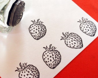 Little Strawberry Fruit Rubber Stamp - Handmade  by BlossomStamps