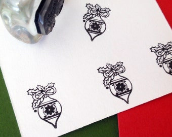Christmas Ornament Rubber Stamp  for tags, envelopes, stickers - Handmade by BlossomStamps