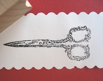 Scissors Rubber Stamp - Embroidery -  Handmade by BlossomStamps