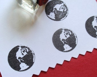 Tiny Earth  Rubber Stamp  - Handmade by BlossomStamps