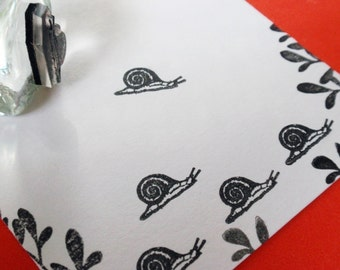 Tiny Snail Rubber Stamp -  Handmade Rubber Stamps by BlossomStamps