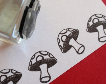 Mushroom Toadstool Rubber Stamp -  Handmade rubber stamp by BlossomStamps