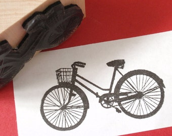 Bike with Basket Rubber Stamp // Bicycle Rubber Stamp - Sz LARGE -- Handmade by BlossomStamps