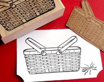 Picnic Basket Rubber Stamp -  Handmade by BlossomStamps