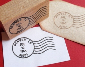 Customized Letter Postmark Postage Cancellation Mark Rubber Stamp  - Weddings, Births, Parties - Handmade by BlossomStamps