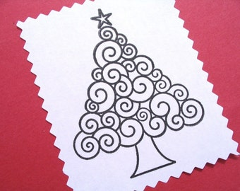 Spiral Christmas Tree Rubber Stamp - LARGE - Original Art by BlossomStamps