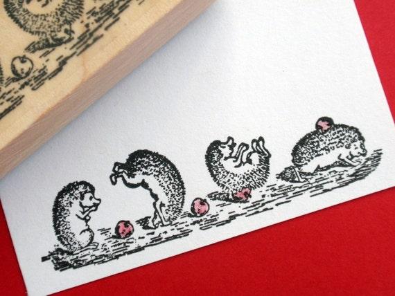 Hedgehog Porcupine Illustration Rubber stamp - Handmade by BlossomStamps