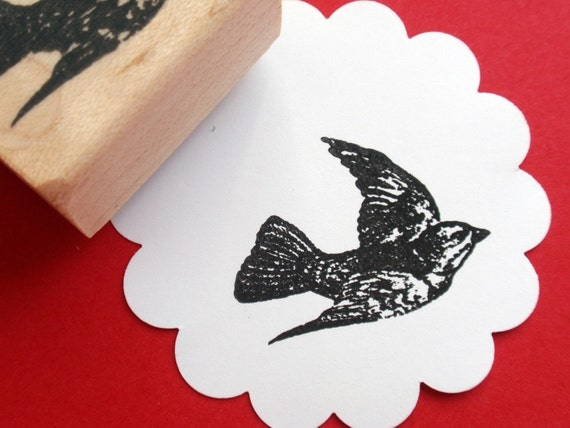 Flying Bird Rubber Stamp Photopolymer - Handmade by BlossomStamps