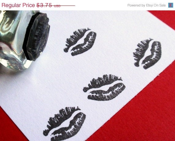 Little Kiss Lips Rubber Stamp Photopolymer - Handmade by BlossomStamps