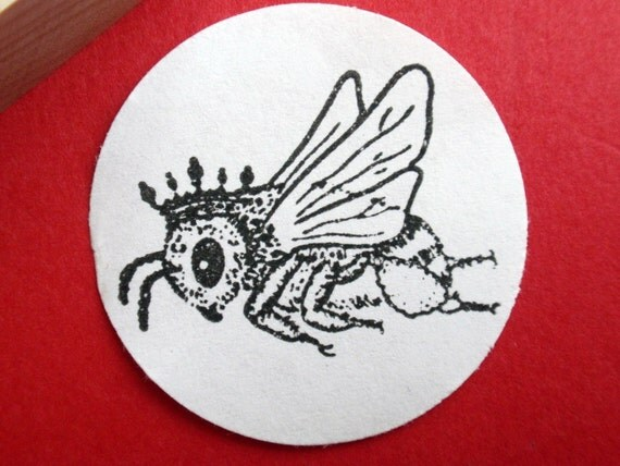 Queen Bee Honeybee Rubber Stamp -  Handmade rubber stamp by BlossomStamps