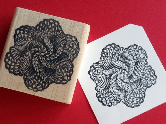 SALE Antique Lace Doily Rubber Stamp - Handmade rubber stamp by Blossom Stamps