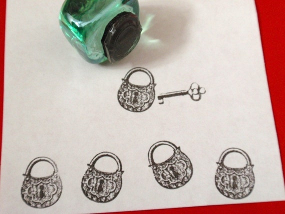 Padlock Lock Rubber Stamp  - Handmade by BlossomStamps