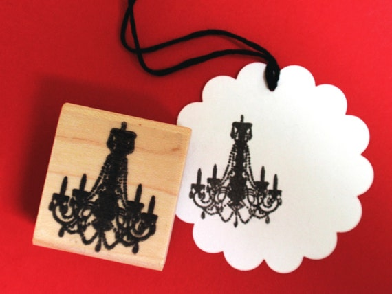 Chandelier Silhouette Rubber Stamp - Sz Small - Handmade rubber stamps by BlossomStamps