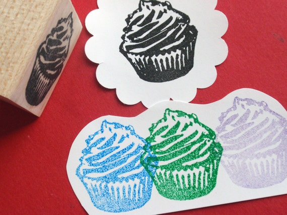SALE 25% OFF / Cupcake Rubber Stamp // Cake rubber stamp // Bakery Stamp - Handmade rubber stamp by BlossomStamps