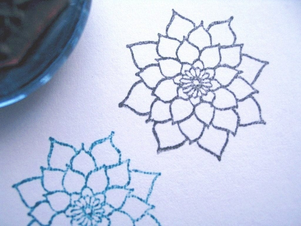 Dahlia flower rubber stamp photopolymer handmade by for How to draw a pretty flower easy