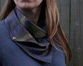 Cozy Snap Scarf - Charcoal Gray - Striped Wool - Unisex