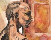 Art Print - Modern Watercolor Painting - Museum Mannequin Signed Print -  Colorful Reproduction