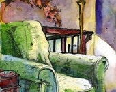 Art Print - Comfy Chair - Reproduction of Watercolor and Ink Painting - Painting of an Interior