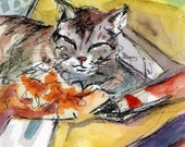 Cat ACEO - Original Watercolor and Ink Painting of Kitty - I'm OK With This by Jen Tracy