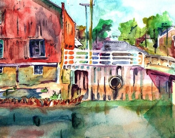 Original Watercolor and Ink Painting - Always Changing - Landscape Painting of River - Plein Air Painting by New Jersey Artist