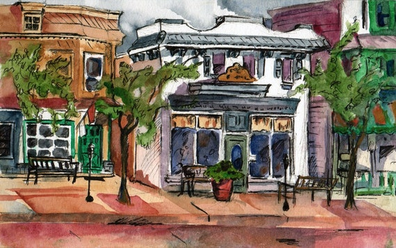 Reproduction Print of an Original Watercolor Painting - Across the Street Signed Print - Buildings