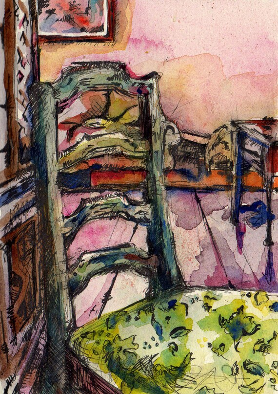 Watercolor Painting of Chair - Abstraction of Skittles - Pink and Green Interior Illustration - Watercolor and Ink on Paper