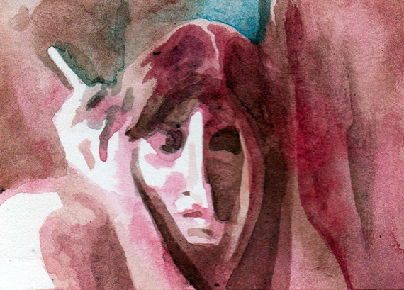 Painting of Woman Smoking - Original Watercolor ACEO - Red and Blue Cigarette by Jen Tracy