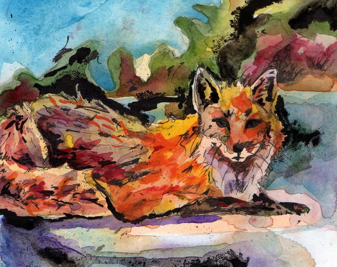 Featured listing image: Fox Painting - Fox Out of Water - Reproduction of Original Watercolor and Ink Painting - Art Print