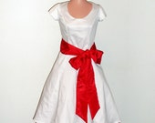 1950s Wedding Gown Bridesmaid Dress with Bow and Petticoat
