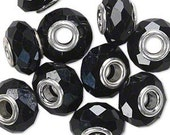 Dione Bead, 32-facet black rondelle, 15x8mm with 4.5mm hole,