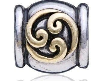 DRUM flower SILVER/GOLD European Bead Charm