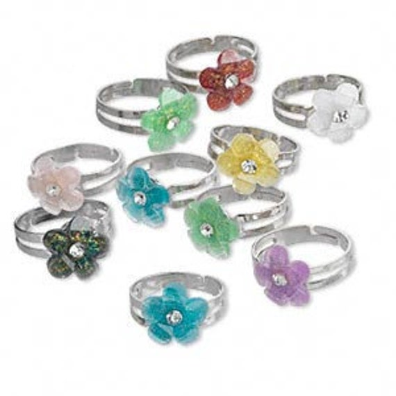 Flower adjustable ring mix, package of 8, assorted colors
