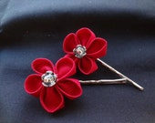 Made to Order Kanzashi Red Flower Hair Pins