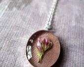 night moss - handmade flower pendant