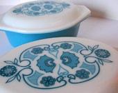 Vintage Pyrex Blue Horizon Casserole Set