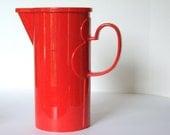 Vintage Dansk Gourmet Design Red Orange Mod Covered Pitcher