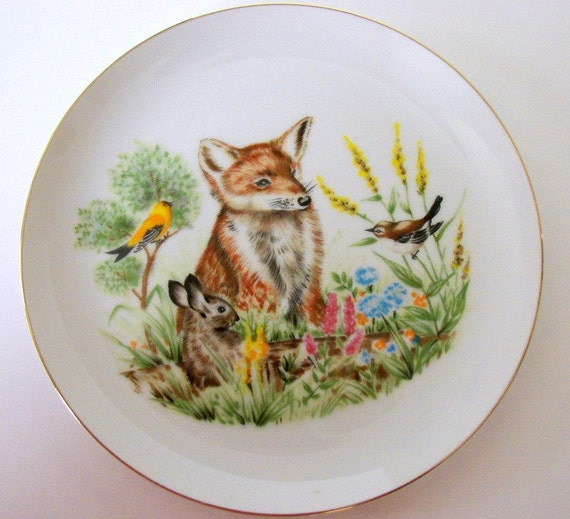 Vintage Fox Bunny Wren and Goldfinch Wall Hanging Plate