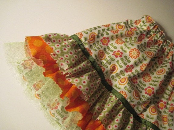 Reserved Listing for Lindsey - Skirt with girly orange ruffles