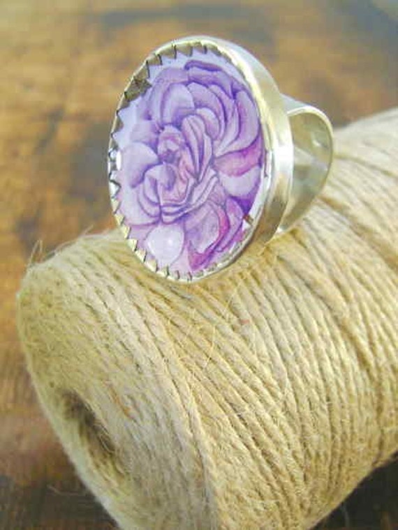 Handmade Ring of silver and recycled tins. Lilac Rose.