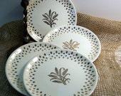 RESERVED FOR MAMMALAMMAZ -- Vintage Fleur de Lis Golden Wheat Bread and Butter Plates Set of 4