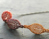 Wire crochet necklace, crochet with wire  pendant, Crocheted warm colors  pods necklace