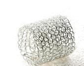 Sterling silver ring, Crochet ring , Silver band ring , Wire ring , Handmade ring, soft silver ring