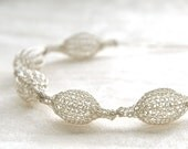 Silver BRIDAL necklace silver white pods chain crochet jewelry wedding jewellery wire crochet bubbles necklace