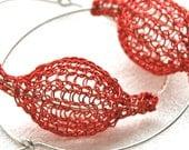 Red large hoop earrings -  contemporary Silver urban hoop earrings - red bubble jewelry- Gypsy bohemian fashion
